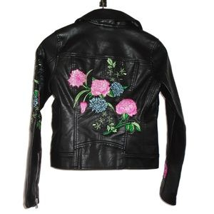 BlankNYC Embroidered Floral Vegan Leather Girls M